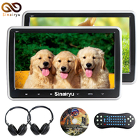 2x10.1 inch HD 1024*600 TFT Lcd-scherm Draagbare Auto Hoofdsteun Monitor Dvd-speler USB/SD/HDMI/FM Touch Knop Game Afstandsbediening