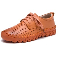 Women Summer Shoes Breathable Handmade Woman Hollow Out Flats Women S Genuine Leather Flat Shoes Single
