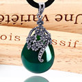Vintage green jade jewelry 925-sterling-silver chalcedony agate necklace pendant drop fashion style for women