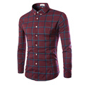 2016 New Fashion Plaid Shirt Men's Casual Long-Sleeved Cotton Shirt Slim Business Popular Shirts Men 13M0452