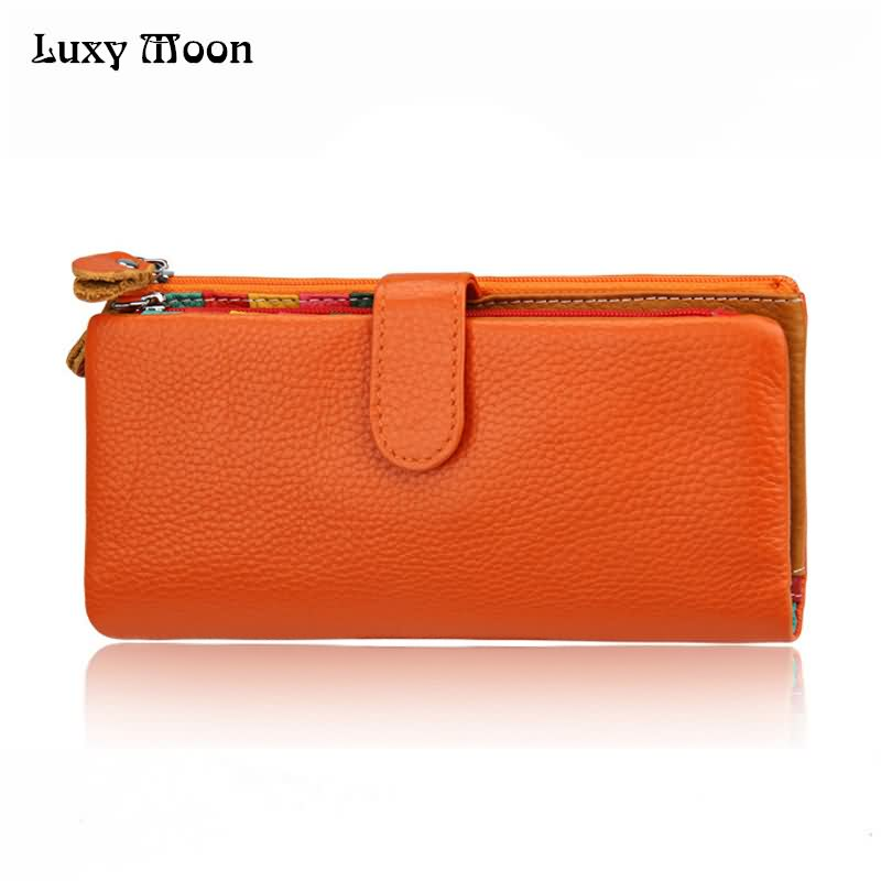 Luxy Moon Clutch Wallets RFID Fold Wallet Fashion Multifunctional Genuine Leather Card Holder Wome's Purse Cowhide Bag ZD493 2017 new cowhide genuine leather men wallets fashion purse with card holder hight quality vintage short wallet clutch wrist bag