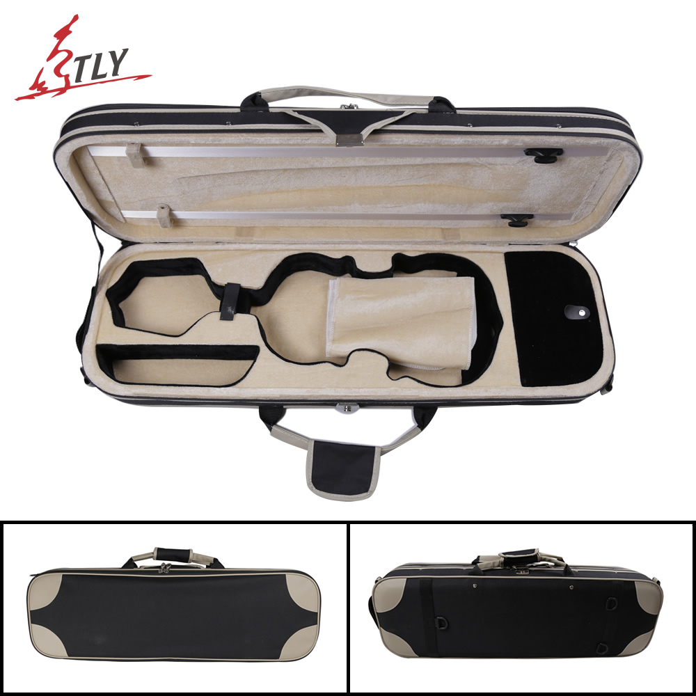 TONGLING High Grade Over-edging Violin Case w / Hygrometer Black Canvas Violino Case Professional Violin Accessories