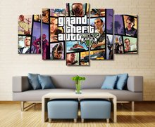 5 Piece Game GTA 5Wall Art Poster Prints Decorative HD Print Paintings on Canvas Wall Home Decor Picture Artwork Living Room