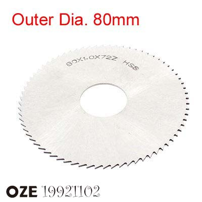 1pc 80mm X 22mm X 0.5/0.6/0.8/1/1.1/1.2/1.5/2/2.5/3/3.5/4/4.5/5/5.5/6 Thickness HSS Milling Cutter 72T Slitting Saw Blade Silver