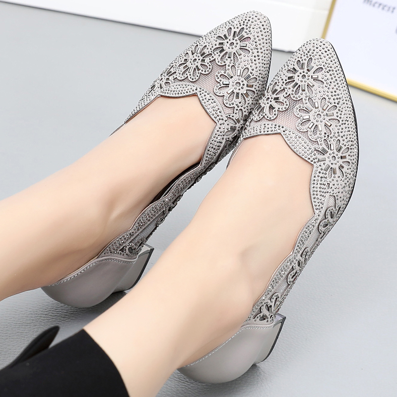 GKTINOO 2021 Summer Fashion Hollow Out Genuine Leather Pumps Women Shoes Med Heels Square Heel Mesh Ladies Office Shoes Crystal
