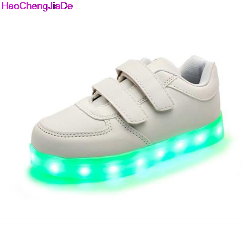 все цены на HaoChengJiaDe Children's Shoes With Light USB Charging Luminous Sneakers Led Kids Light Up Shoes Casual Boys Girls Glowing Shoes онлайн