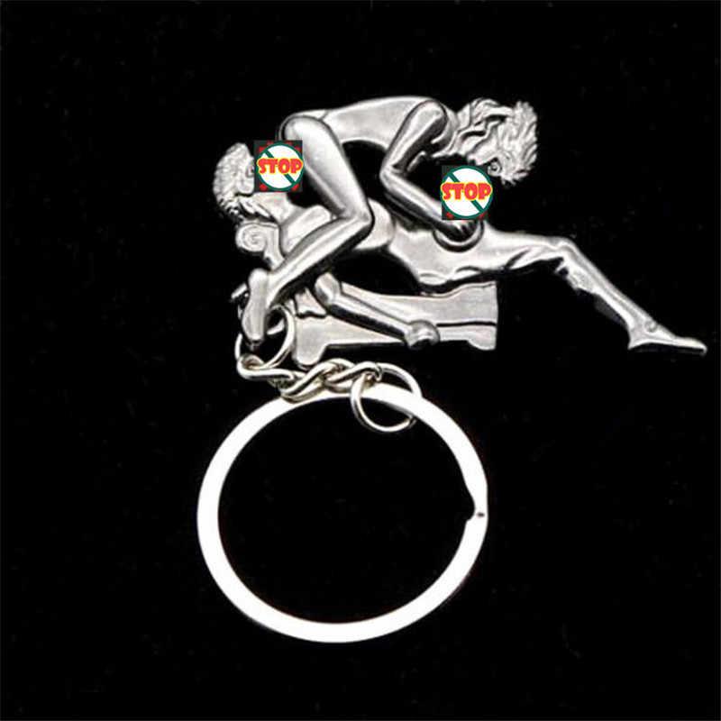Movimento lovers keychain chaveiro simulação atividade feliz homem metal moda casal chaveiro charme chaveiro boa apelação presente para amigos
