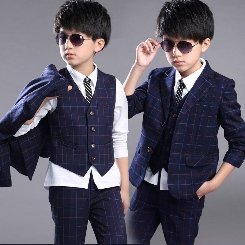 4d9951aa2 US $13.01 17% OFF|New Boys Clothing Set Plaid Coat and vest and pants three  pieces Wedding Kids Clothing Jongens Kleding Kids Clothes 6BSET004-in ...