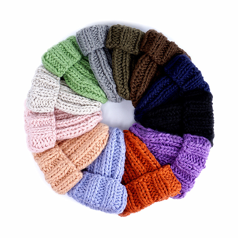 Fashionable Warm Winter Hats for Men Wome Solid Color Knitted Beanies Caps Unisex Casual Cute Hats