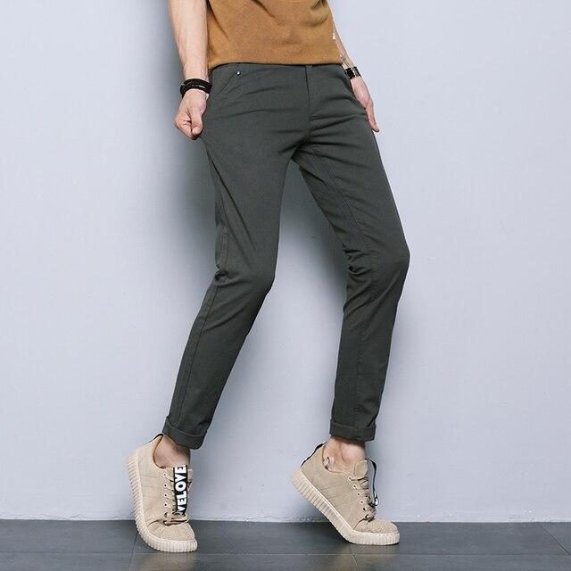 jantour 2018 New Casual Men Pants Cotton Slim Straight Trousers Fashion Business Design Solid Khaki Black Pants Men Plus Size 38 38