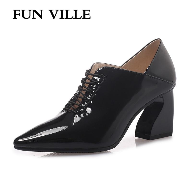 FUN VILLE 2019 Spring Summer New Fashion Women Pumps Genuine Leather High Heels shoes Woman Dress
