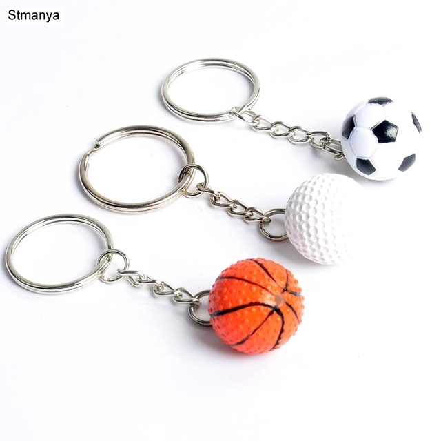 New Fashion Sports Keychain Car Key Chain Key Ring Football Basketball Golf ball Pendant Keyring For Favorite Sportsman's Gift