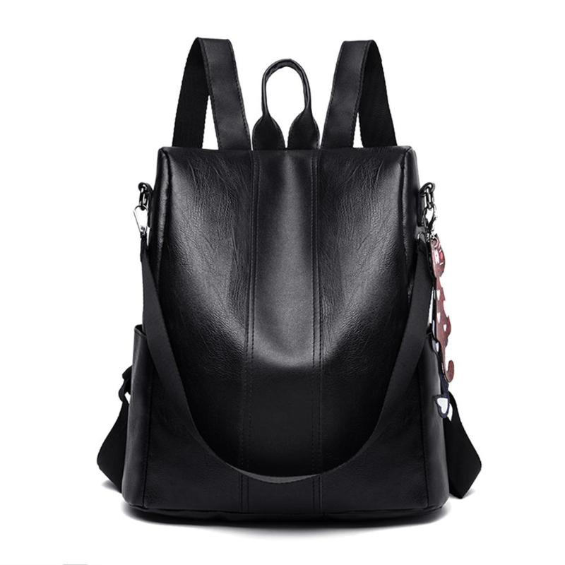 Women Black High Capacity Anti-theft Travel Backpacks Women Solid Color Leather Shoulder School Bags Girl Fashion BagWomen Black High Capacity Anti-theft Travel Backpacks Women Solid Color Leather Shoulder School Bags Girl Fashion Bag