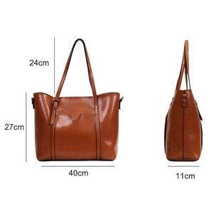 Image 3 - Kadın Çanta Yağı Balmumu kadın deri çantalar Lüks Bayan El Çantaları Çanta Cep Kadın askılı çanta Kadın Büyük Tote Sac bols