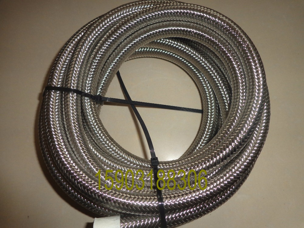 High Performance AN6 Nitrile rubber Stainless Steel Braided oil hose with bright silver stainless steel braided 16FT in Oil Coolers from Automobiles Motorcycles