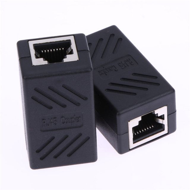 2pcs RJ45 Female to Female Network Ethernet LAN Connector Adapter Coupler Networking Tools Black High Quality
