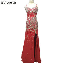 XGGandXRR Heavy Beaded Satin Prom Dresses 2018 Floor Length