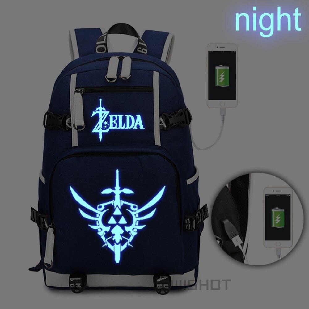 WISHOT la leyenda de Zelda: mochila de enlace salvaje para adolescentes hombres mujeres con puerto de carga USB bolsa luminosa-in Mochilas from Maletas y bolsas    1