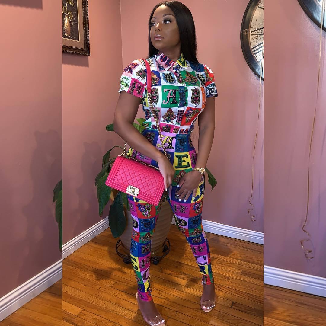 2019 Sexy Short Sleeve   Jumpsuit   Women Stretch Print   Jumpsuit   Romper Long Top Bodysuit Leotard Lady Outfit