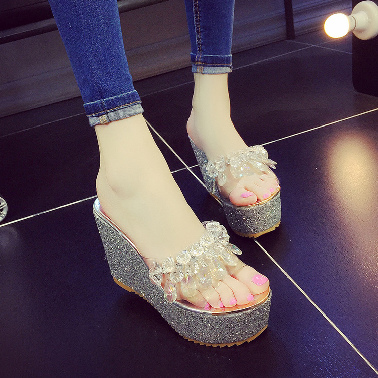 Gold Sparkly Flip Flops