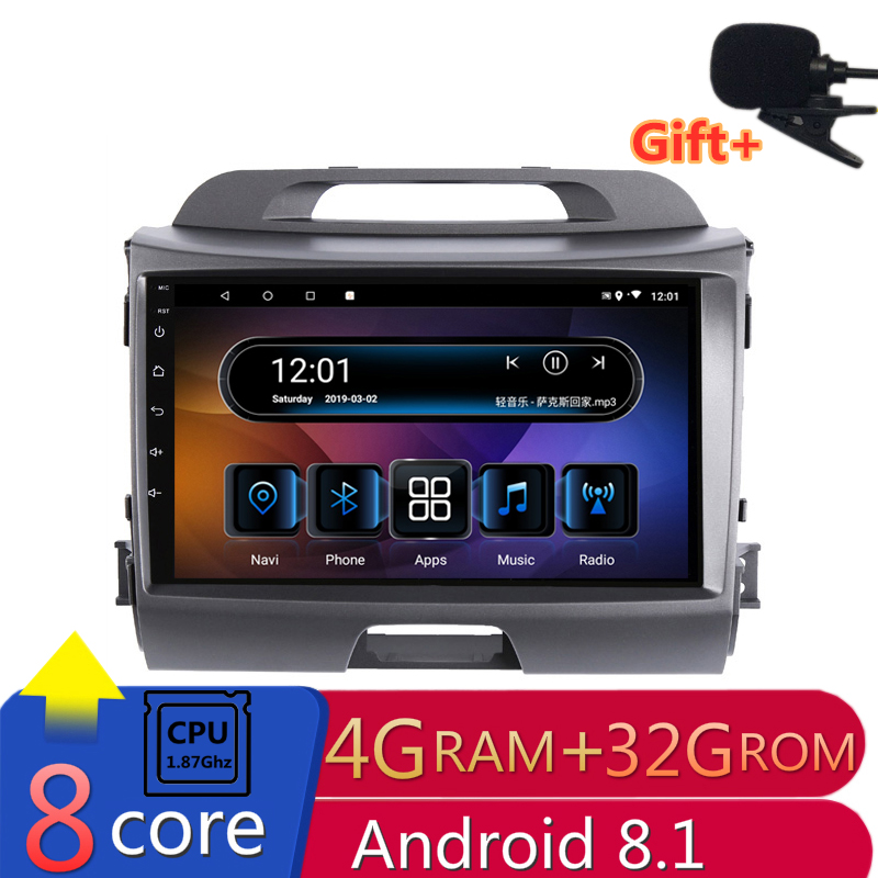 "9"" 4G RAM 8 cores Android Car DVD GPS Navigation For KIA Sportage R 2011 2012 2013-2015 audio stereo car radio headunit wifi"