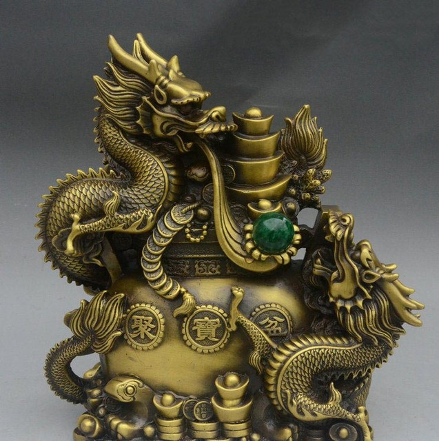 12 Chinese Bronze Fengshui Wealth Dragon Dragons Treasure Bowl
