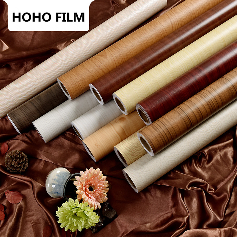 1.24 m x 3 m D'épaisseur imperméable papier peint auto-adhésif couleur film film vieux meubles armoire bureau rénovation autocollants grain de bois