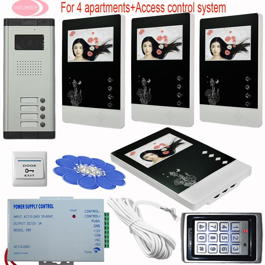 """Home Security 4.3"""" Color Screen Video DoorPhone Intercom 4 Keys+4 Monitors Video Doorbell intercom Keypad Access Control System"""