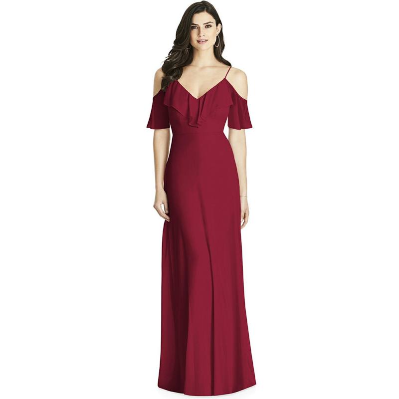 Grace Women Elegant Sexy Long Burgundy   Bridesmaid     Dresses   2019 New Chiffon V Neck Backless Formal Wedding Party   Bridesmaid     Dress