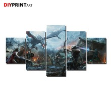 The Elder Scrolls Skyrim 5 Panel Wall Picture Archer Battle Dragon Paintings for Living Room Wall A1007