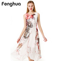 Fenghua Brand Summer Dress Women 2018 Casual Bohemia Chiffon Beach Maxi Dress Elegant Floral Party Ball