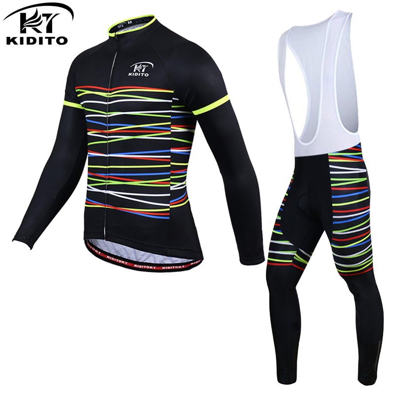 KIDITOKT 100% Polyester Men's Spirng Cycling Jersey Long Sleeve Ropa Ciclismo Bicycle  Clothing Quick Dry Bike Clothes Sets 2017