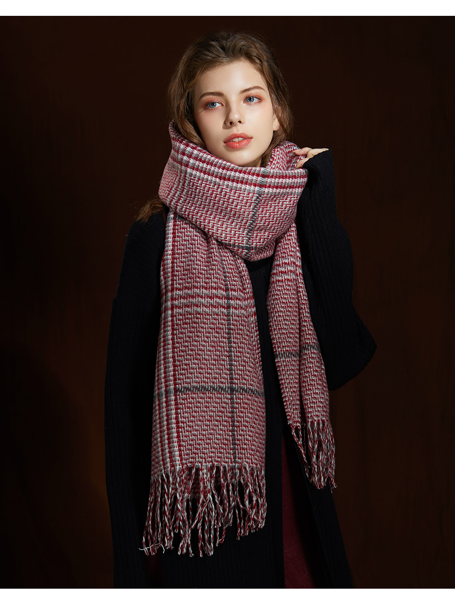 2019 New Winter Autumn Wool Knitted Women Scarf Plaid Warm Cashmere Scarves Shawls Luxury Brand Neck Lady Wrap High Quality (10)