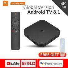 Оригинальная глобальная версия Xiaomi mi Box S 4 Android 8,1 4 K четырехъядерный Smart tv Box 2 ГБ 8 ГБ HD mi 2,4G 5,8G WiFi BT4.2 Mali450 1000Mbp