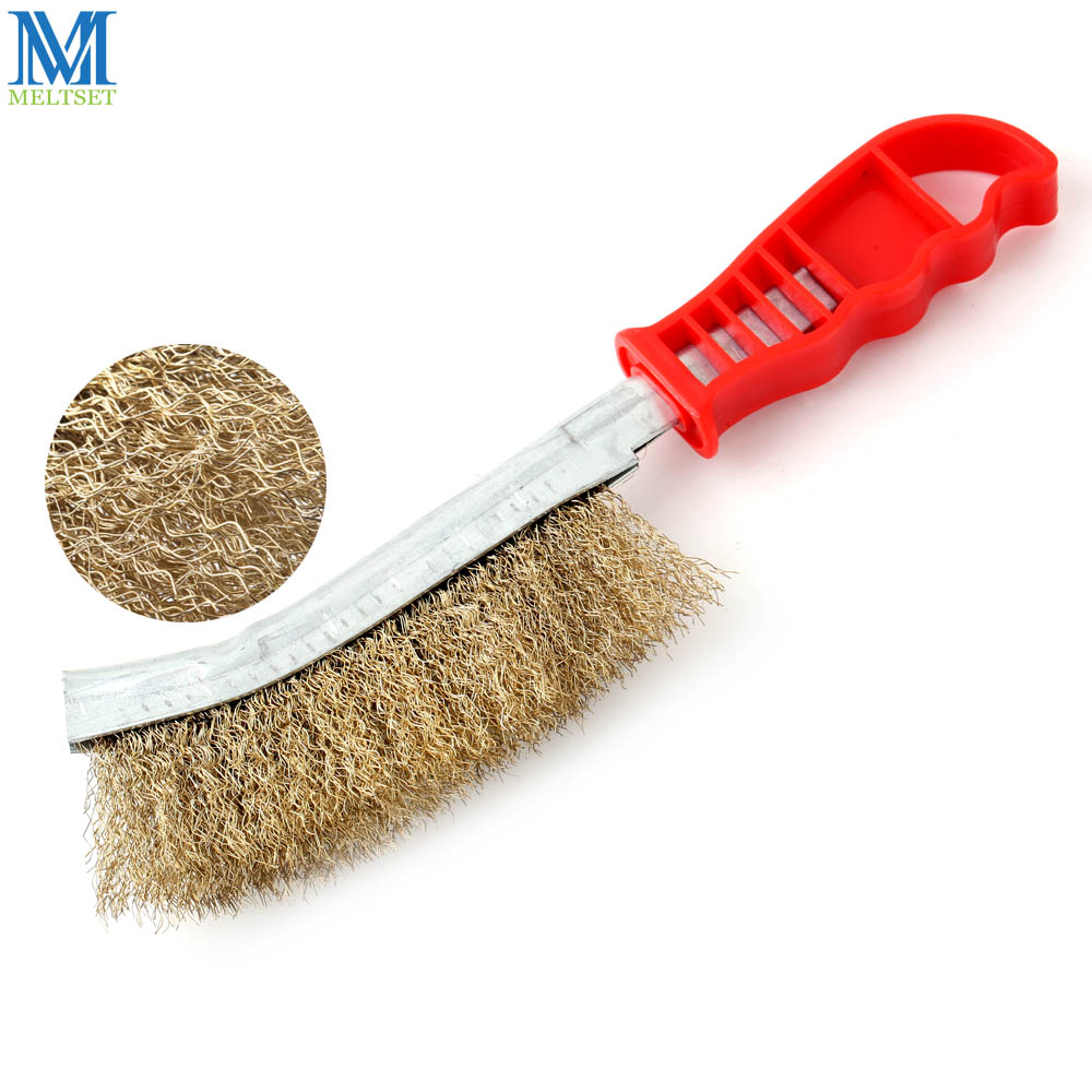 Meltset BBQ Grill Scaling Brush Red Plastic Handle Crack-cleaning Brush Coppered Steel Wire Barbecue Cleaning Tools