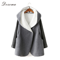 Hot New Autumn Winter Warm Thicken Women Wool Coat Long Loose Casual Pius Size Imitation Lamb