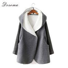 Polaire cardigans femmes 2016 automne/hiver chaud épaississent femmes laine manteau long lâche à capuchon occasionnel imitation agneau femmes veste
