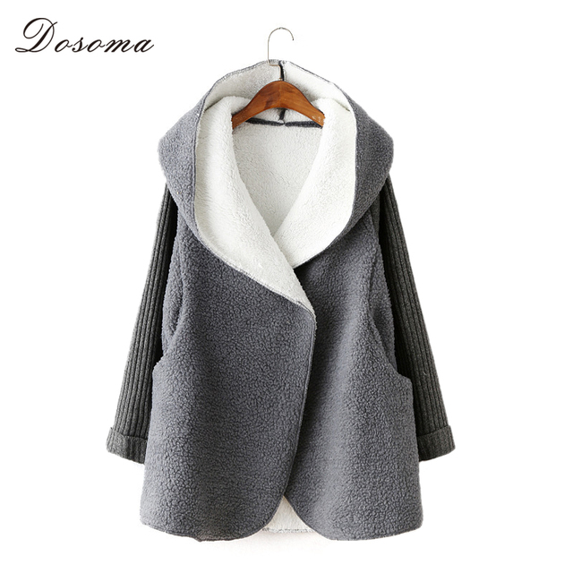 fleece cardigans women 2016 autumn/winter warm thicken women wool coat long loose casual hooded imitation lamb women jacket
