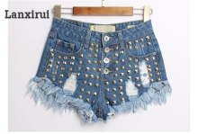 Brand New Women S Fashion Denim Shorts Spike Rivet Hot Summer Jeans Studded Festival Plus Size Vintage -Xxxl