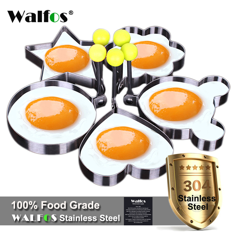 WALFOS  5pcs/set Stainless steel Cute Shaped Fried Egg Mold Pancake Rings Kitchen Tool