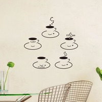 5pcs Set Coffee Cup Vinyl Quote Restaurant Kitchen Removable Wall Stickers DIY Home Decor Wall Art