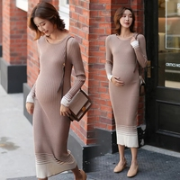 High Quality Autumn Maternity Sweater Dress Pregnancy Clothes Winter Dresses For Pregnant Women Plus Size Maternity Dresses