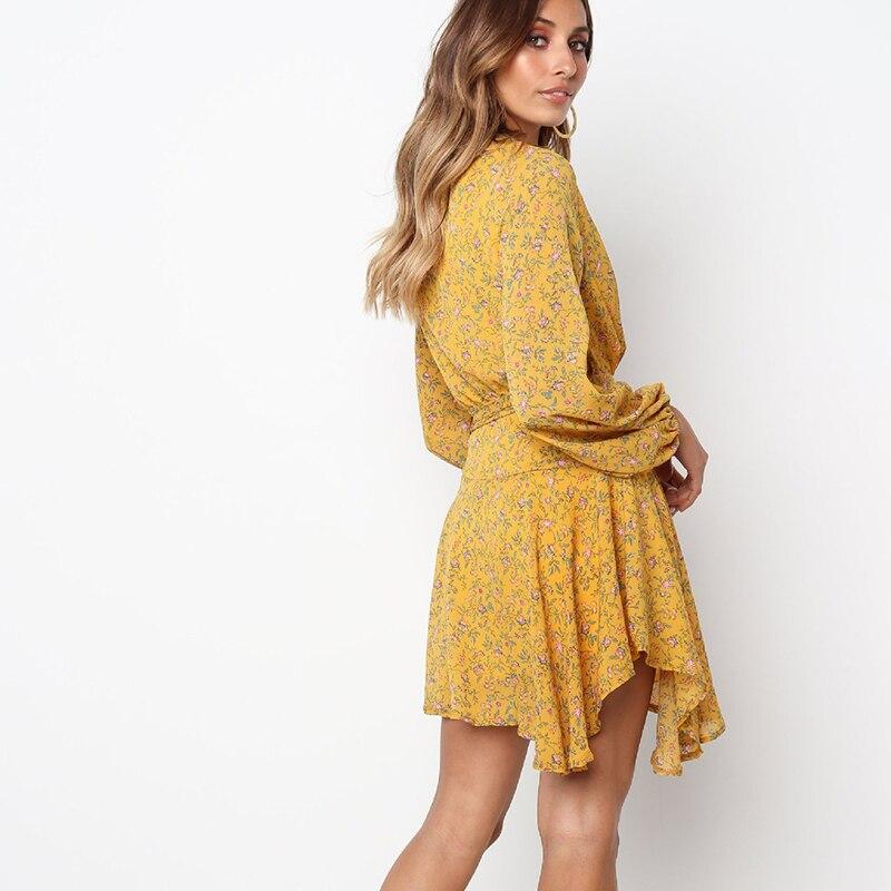 b28e643e72e7 Wrap Dress Floral Long Sleeve Dress Women Hippie Boho Bohemian Clothes  Vestidos Verano 2018 Yellow Robe Femme Vintage Dresses-in Dresses from  Women s ...