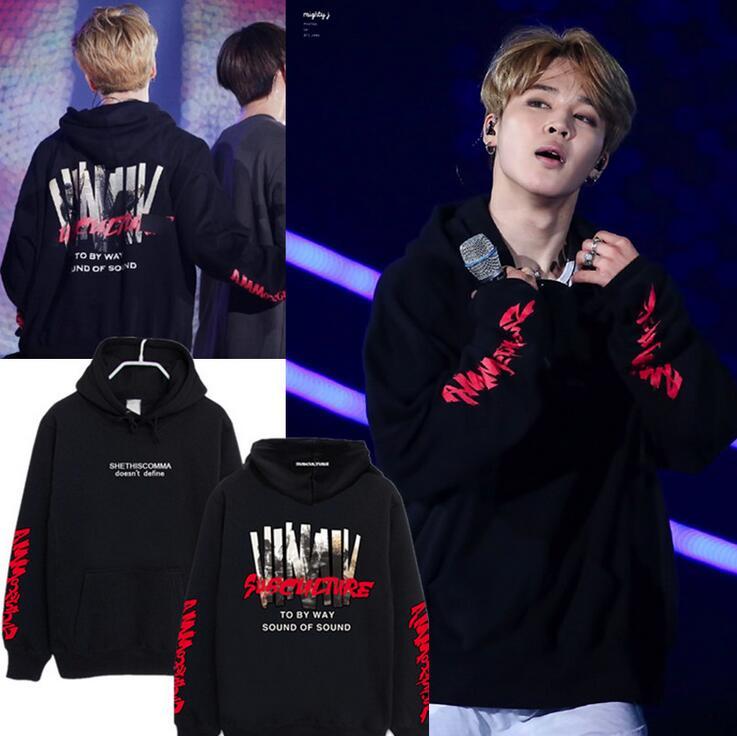 KPOP BTS Bangtan Ragazzi Concerto JIMIN Stesso stile pullover Con Cappuccio Unisex Sweatershirt