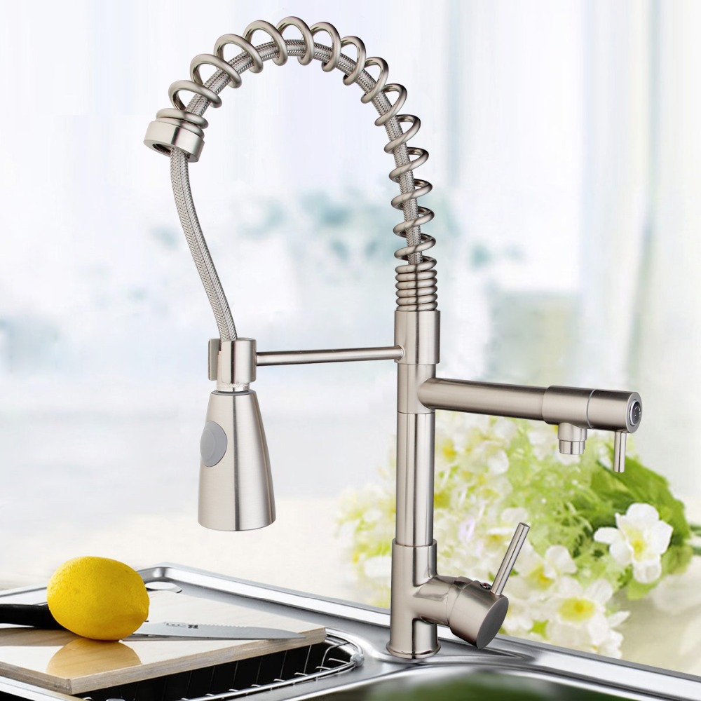 OUBONI Good Quality 360 Degree Rotating Kitchen Faucets Hot Cold Water Torneiras Cozinha 97199D058 Nickel Brush