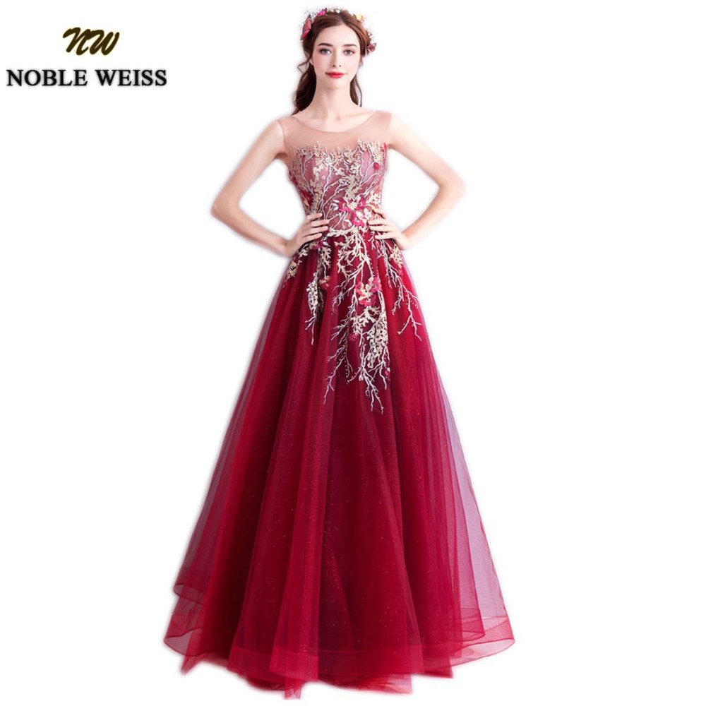 NOBLE WEISS Wine Red Evening Dresses Appliques Beading A-Line Wedding Party Gown Floor Length Prom Dress Tulle Skirt