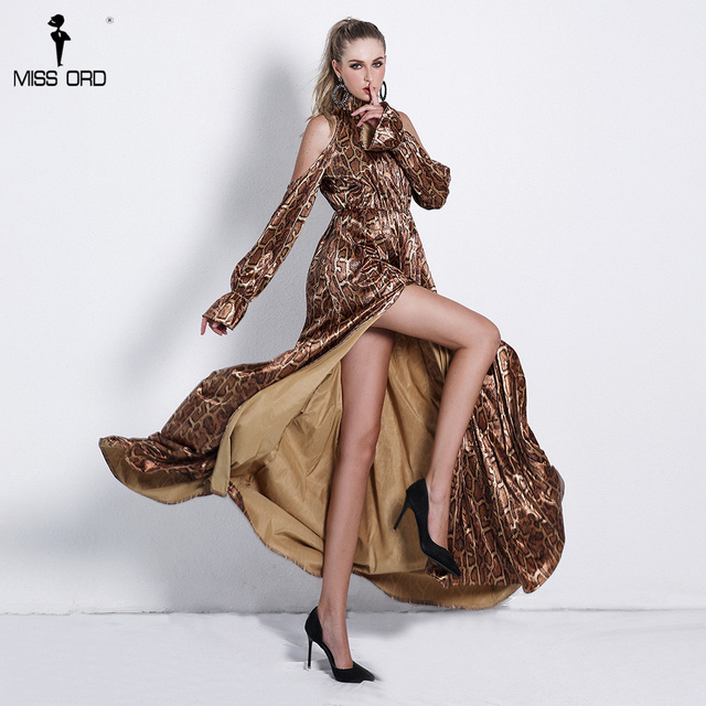 6e55d3e531fb Missord 2018 Sexy High Neck Off Shoulder Long Sleeve Dresses Female Snake Print  High Split Maxi Elegant Dress Vestdios FT9703-1