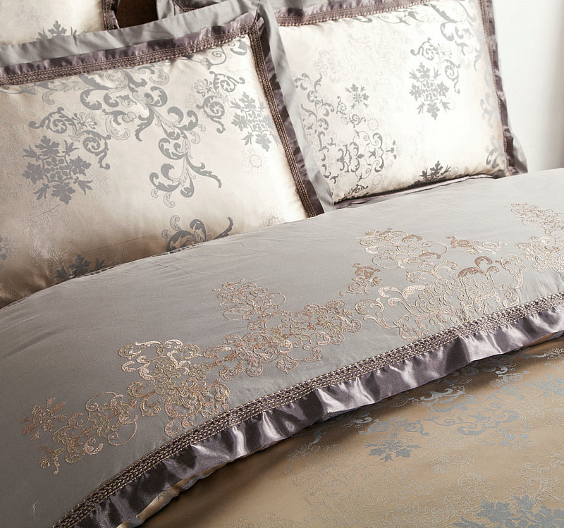 Oriental clássico Bordado Jacquard jogo De cama de Luxo King size Rainha 4/6 Peças De Algodão De Seda de Cetim conjunto de Cama Edredon cobertura Lençol - 3