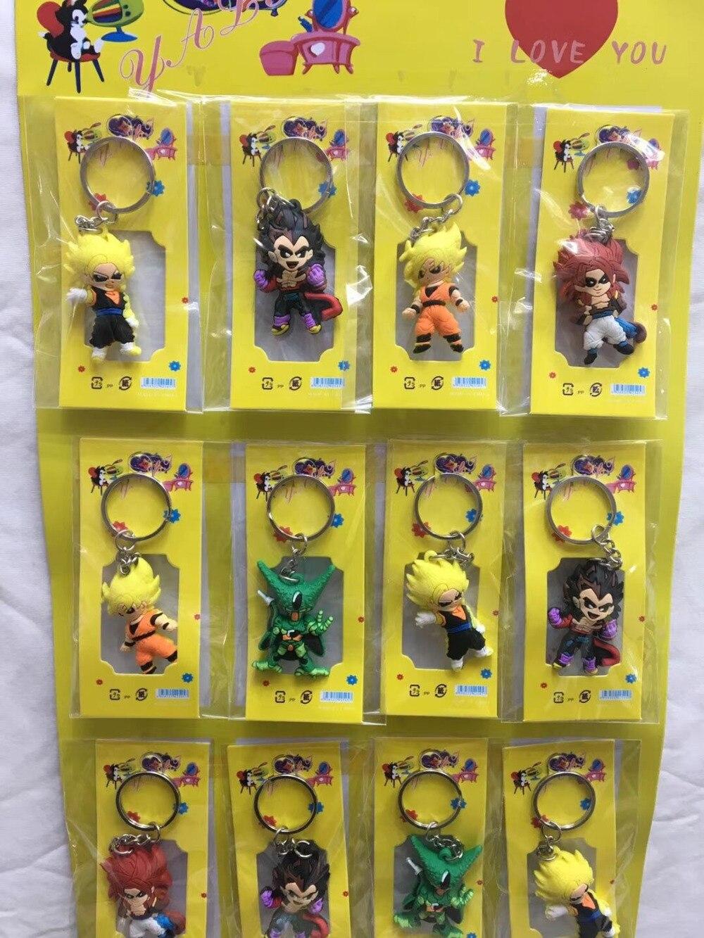 Mix 60pcs Japanese anime Dragon Ball Z silicone Key Ring Cover Holder Pendant Hadbag Bag Charms