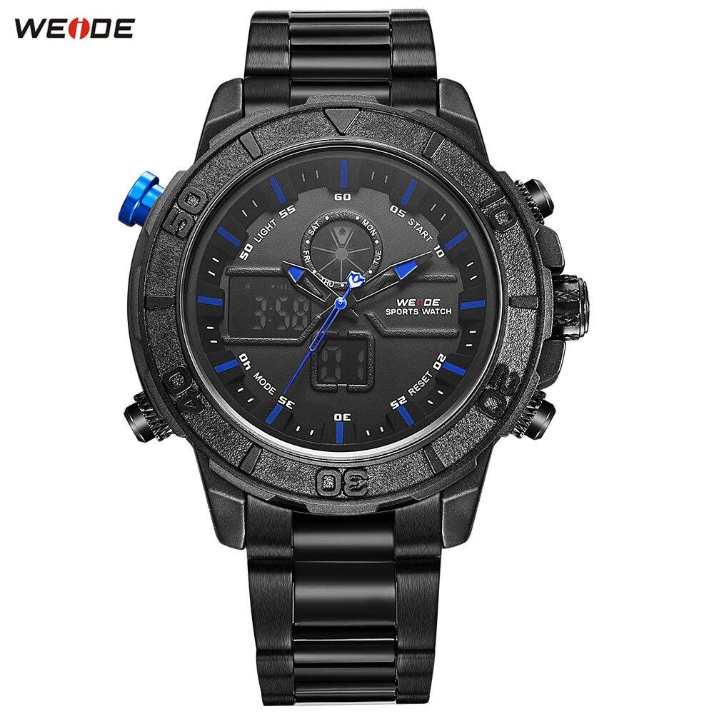 Fashion WEIDE Black Blue Mens Watch Functional Sport Watch Men Digital Quartz Waterproof Bracelet Clasp Army Wristwatch Relogios все цены